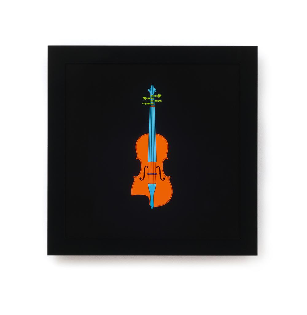 Michael Craig-Martin   Violin • 2013   Caixa de Luz (serigrafia, acrilico, LED)   Edição: 15   60 x 60 cm
