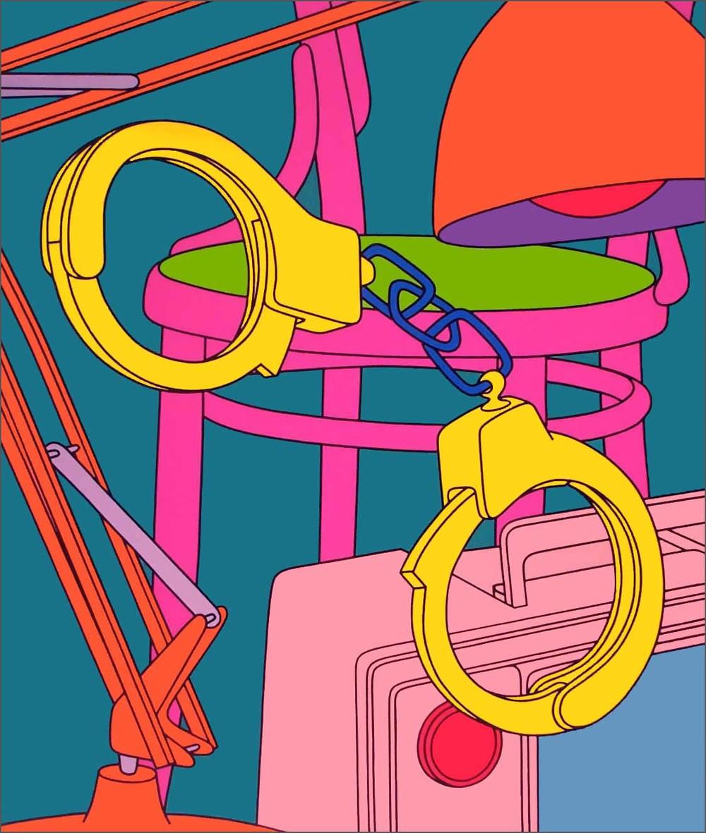 Michael Craig-Martin  Intimate Relations: Handcuffs • 2001 Serigrafia Edição: 50 122 x 100 cm