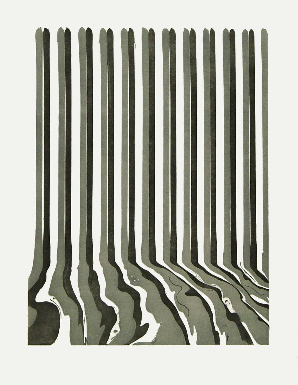 Ian Davenport    Etched Puddle: 46 • 2009 Gravura em metal Edição: única Papel: 86.5 x 67 cm