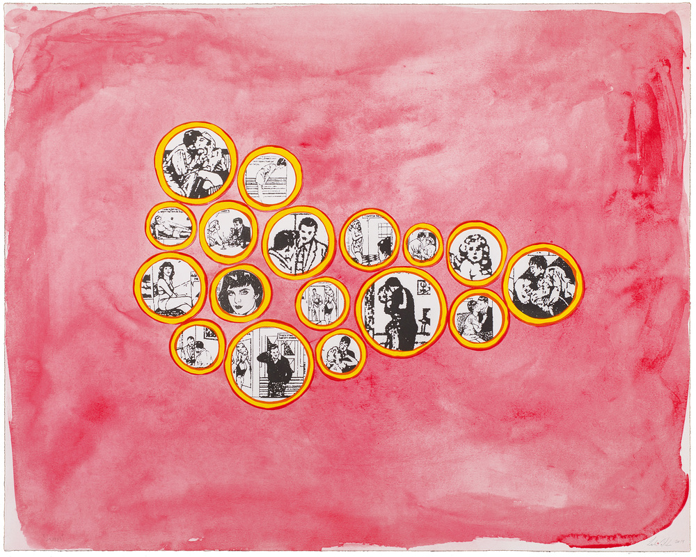 Leda Catunda   Lovers • 2014   Xilogravura sobre gravura em polímero Edição: 60   72 x 90 cm