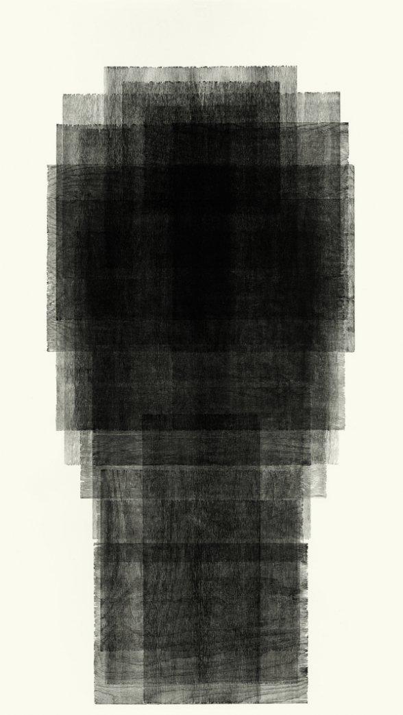 Antony Gormley Fall,2015-16 xilogravura Edição: 2/5 moldura: 241,1 x 138 cm// com moldura: 250 x 148 cm
