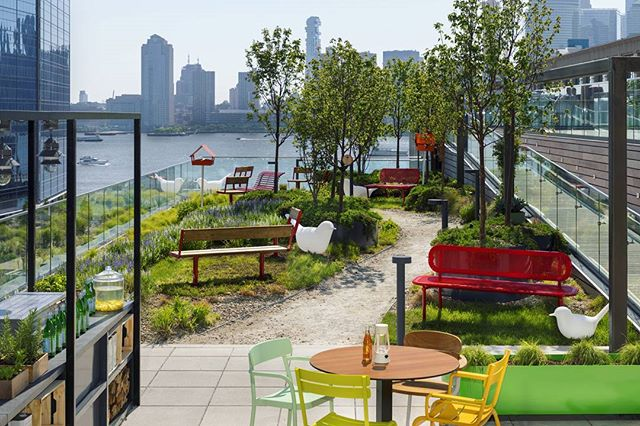 Urby's numerous communal resident spaces include a kitchen, a gym, gardens, and a pool. The communal spaces are actively programmed and can include anything from an in-residence chef who offers cooking lessons in the communal kitchen, to a musician who provides music lessons to the residents. After seeing everything that Urby has to offer, who's ready to move to Jersey City?