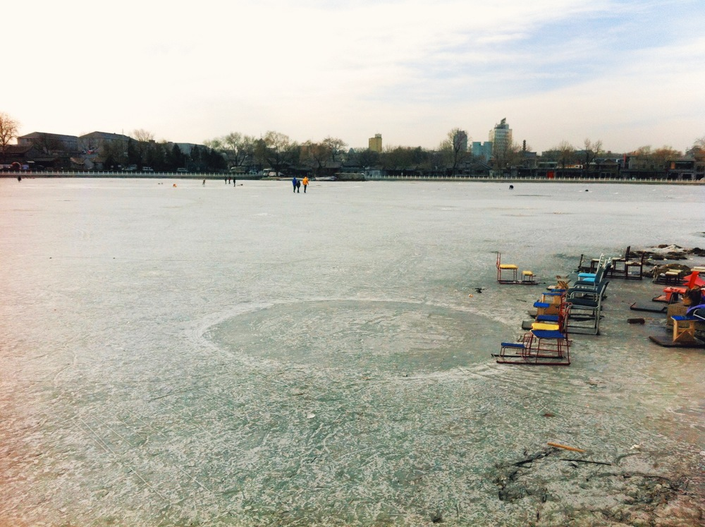 "enterprising locals made these ""chair skates"" and charged visitors to go out on the ice."
