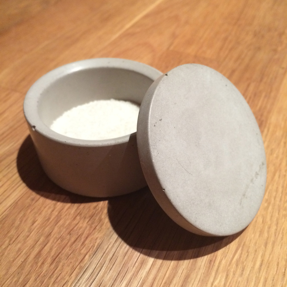 a concrete salt cellar, from myself.