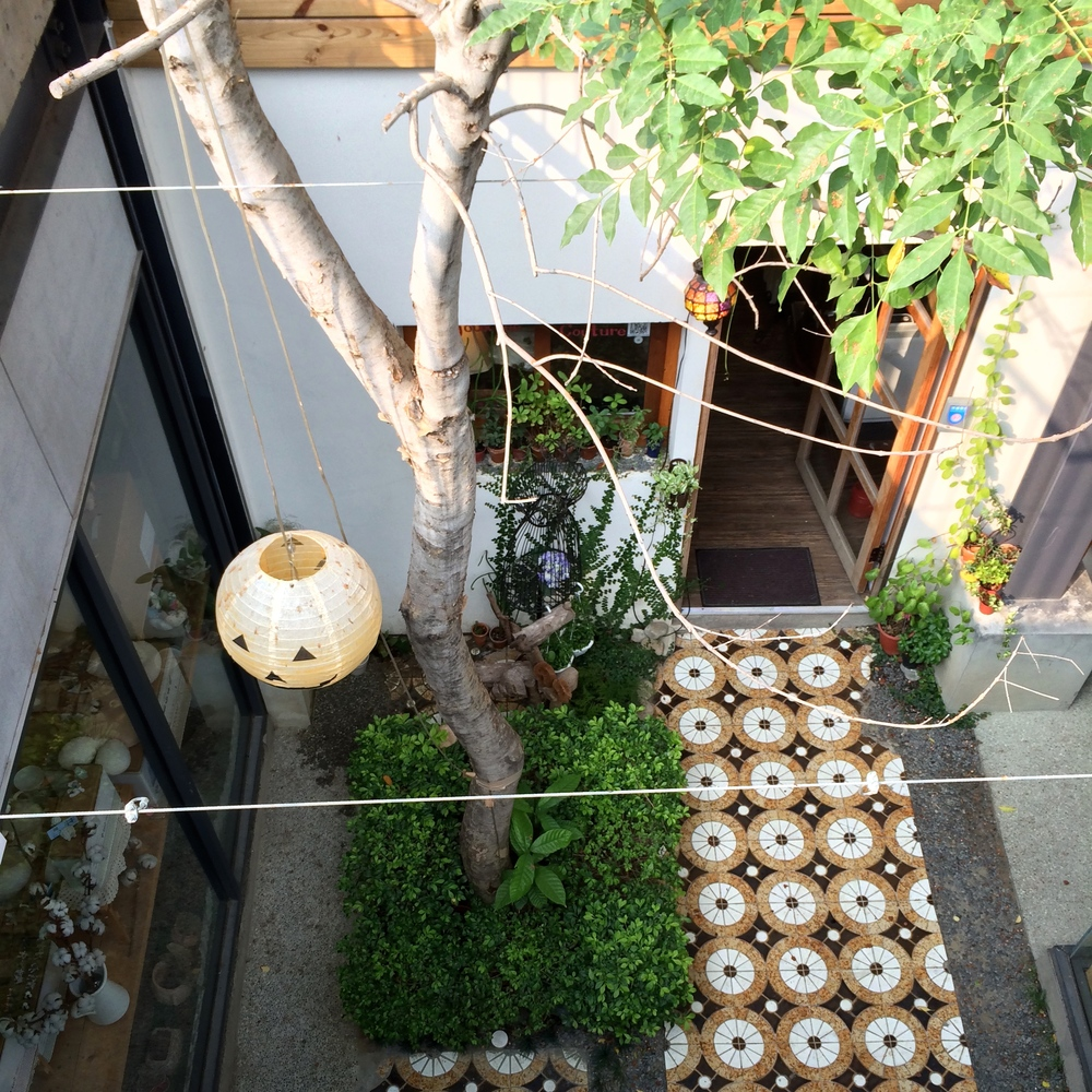 a view down to one of the interior courtyards.
