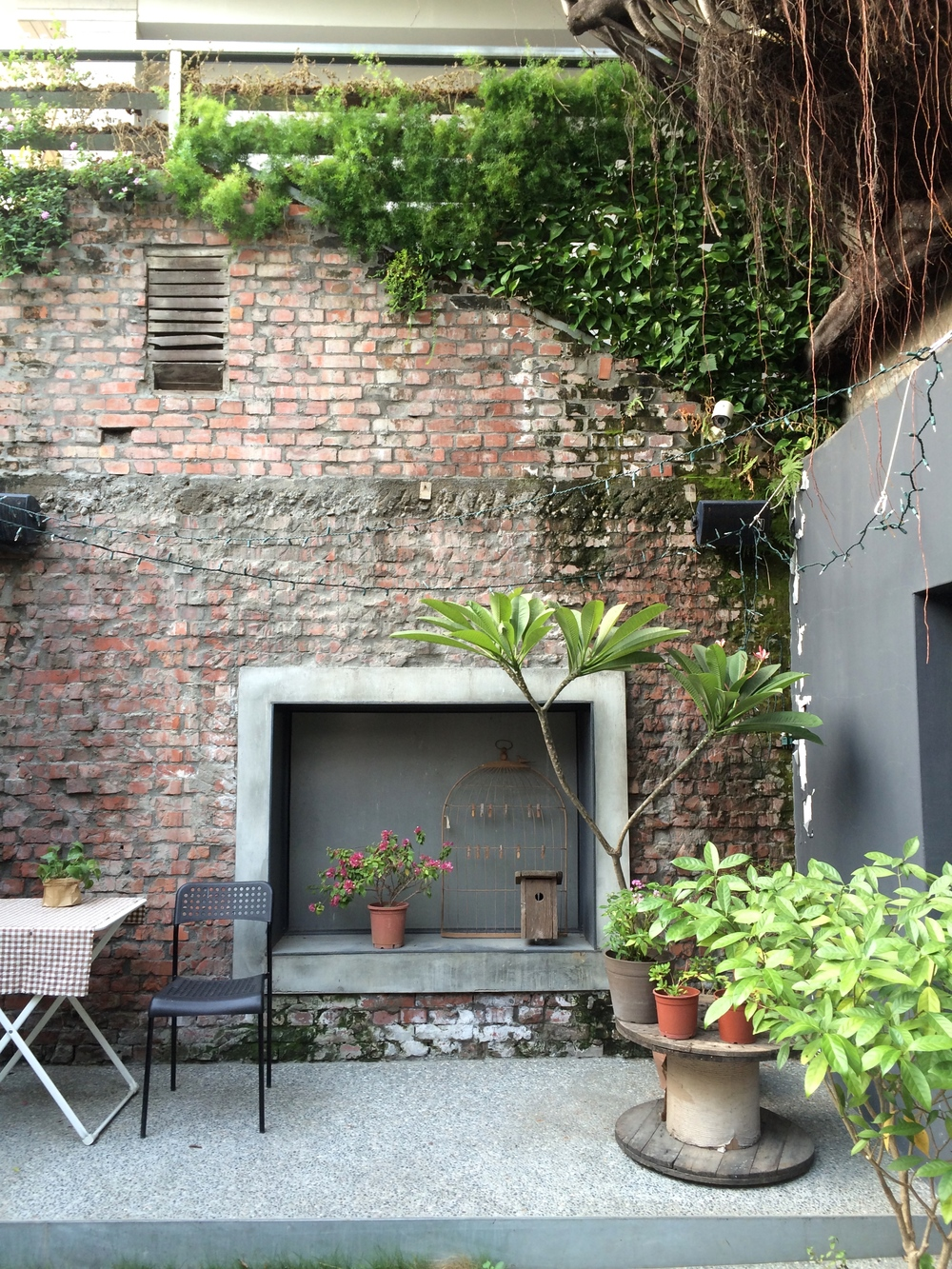 isabella's lush courtyard.