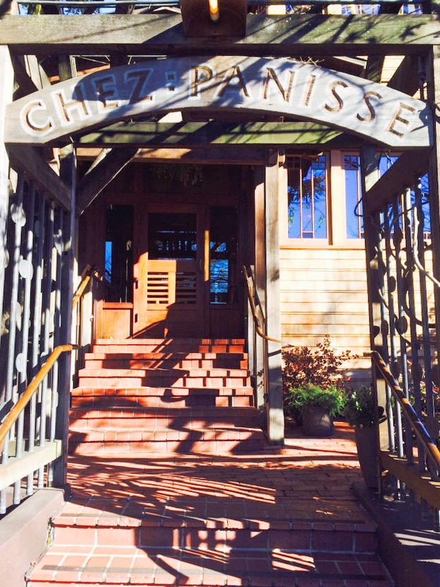 the entrance to the arts and crafts house that is chez panisse.