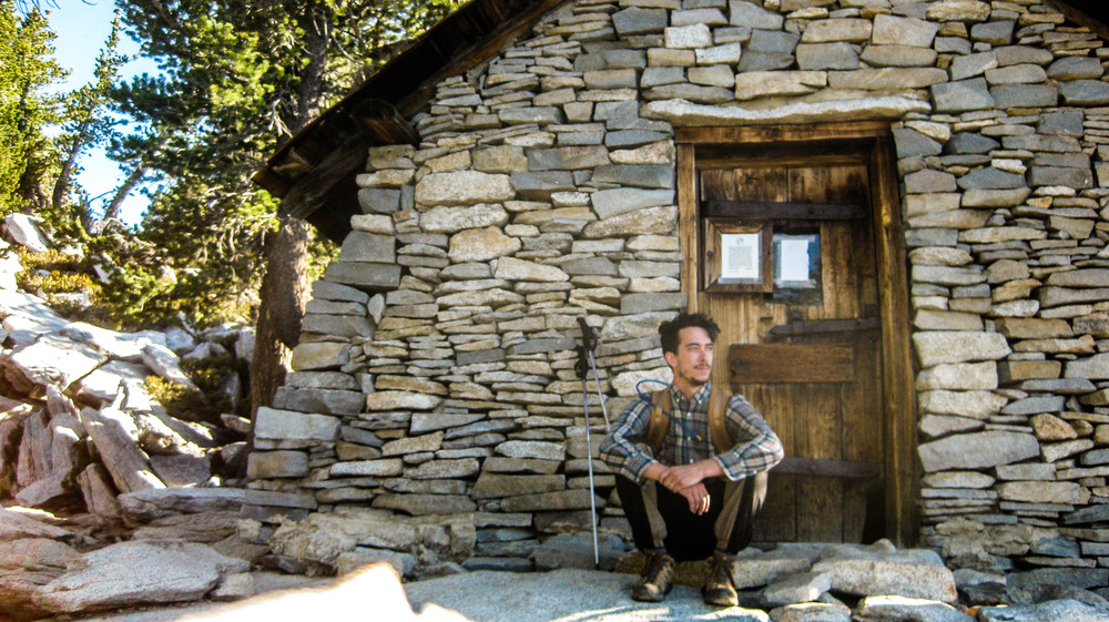The author taking a pensive self portrait in front of the 1935 hiker's cabin below the summit. Mount San Jacinto State Park, California
