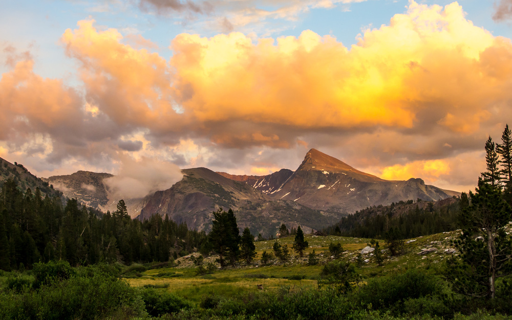 Sunset over Mt. Dana on the edge of Yosemite National Park. Mono County, California
