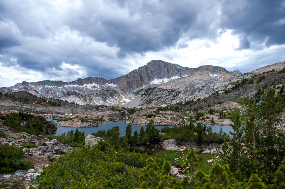 Moody skies above North Peak and Shamrock Lake in the Twenty Lakes Basin. Mono County, California