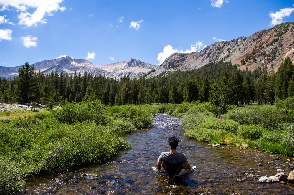 Soaking in the Lee Vining Creek at Sawmill Walk-In Campground. Mono County, California