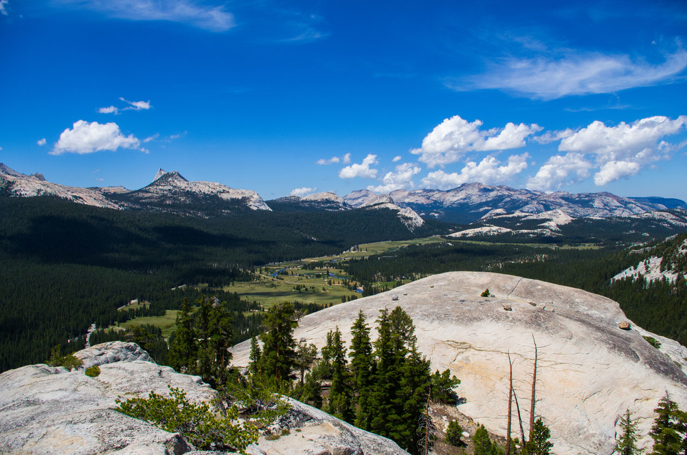 Views of the Yosemite High Country from the summit of Lembert Dome. Cathedral Peak featured promonontly above Tuolumne Valley.  Yosemite National Park, California.
