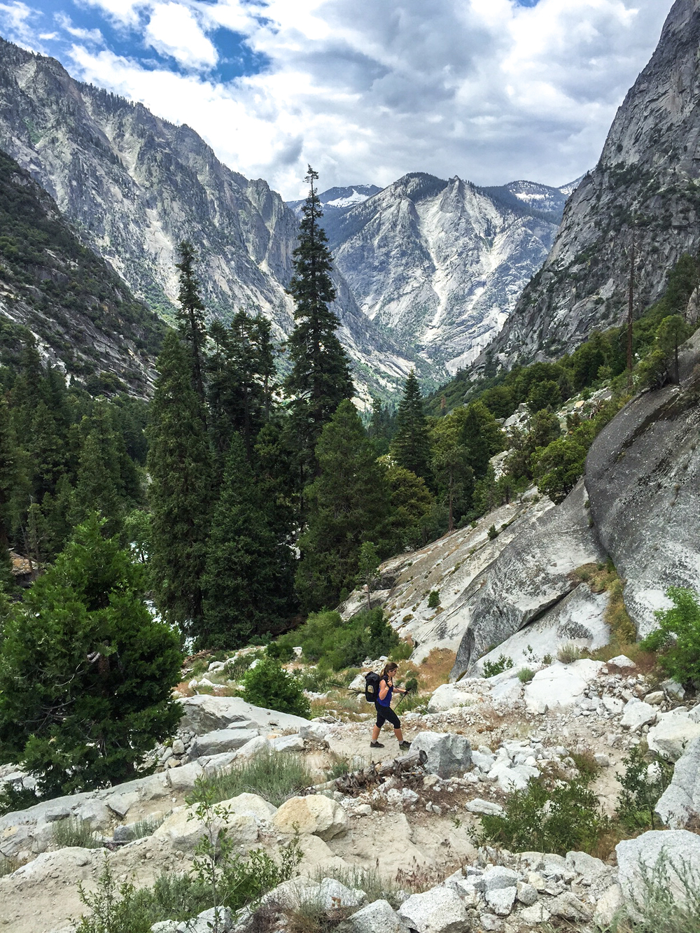 Steep switchbacks nearing Paradise Valley.  KIngs Canyon National Park, California