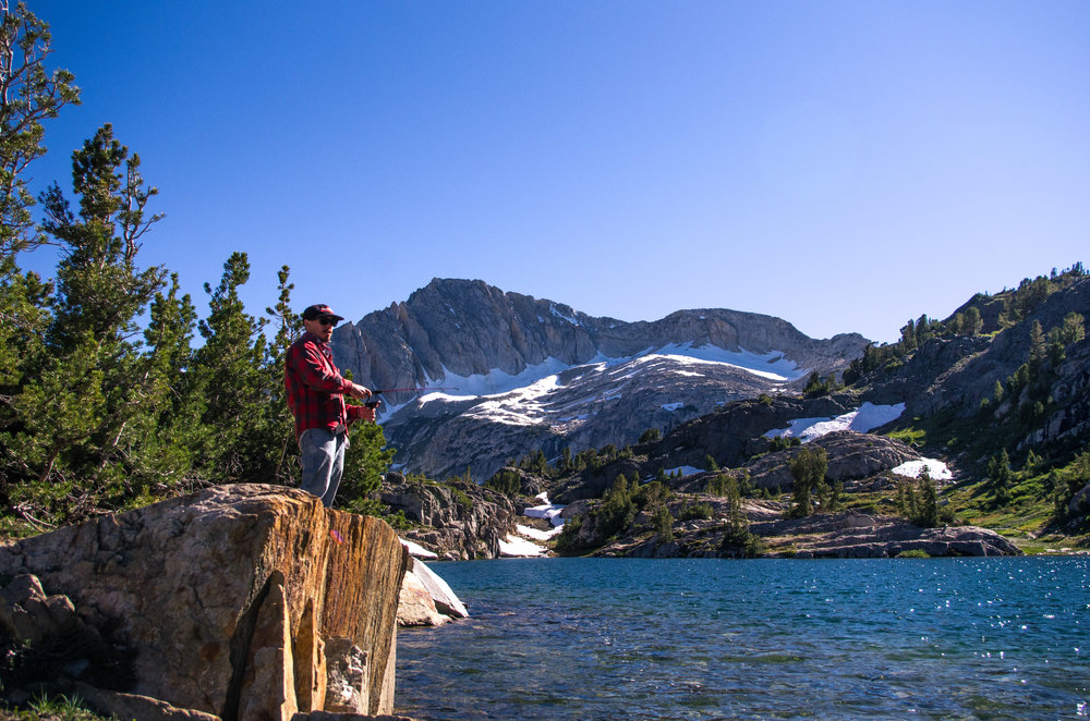 Fishing for Golden Trout on Shamrock Lake. Twenty Lakes Basin, California
