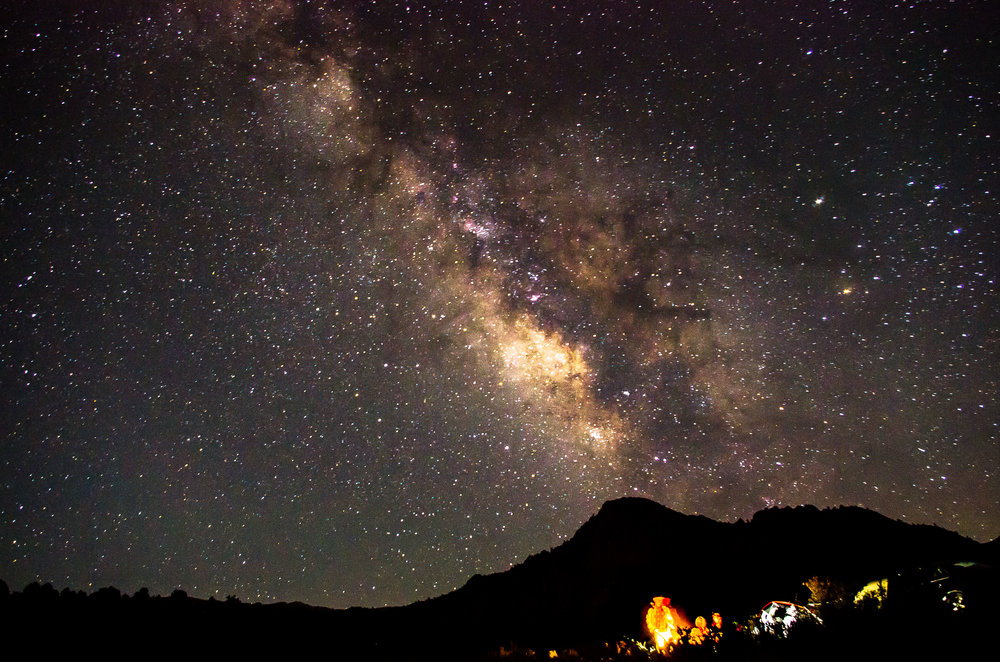 The Milky Way galaxy above our camp in the Buttermilks. Bishop, California