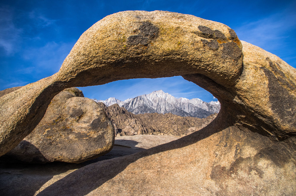 Mobius Arch framing Lone Pine Peak from the Alabama Hills. Lone Pine, California
