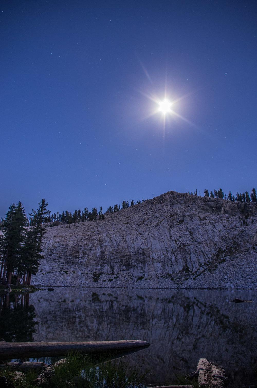 Moonlight over Peak 9,612. Jennie Lakes Wilderness, California