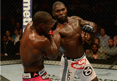 "Anthony ""Rumble"" Johnson manhandles Phil Davis at UFC 172 fighting at 205lbs. Only 2 years prior he had fought consistently at 170lbs. Courtesy: UFC"