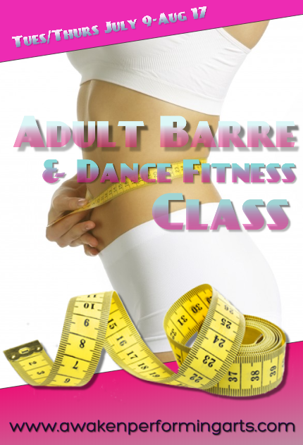 Our adult workout class will be a blend of barre fitness and low impact dance/pilates style exercises. We will take registration through July 8th. Cost $100 for 6 weeks of twice weekly classes. Tuesdays and Thursdays 3:30-4:30 PM.    Work on your summer body the fun way!!!