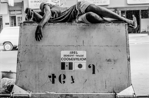 Boy Napping on a Dumpster