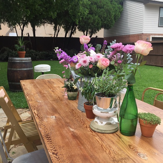 Our tables and wine barrels are perfect for a backyard garden party!