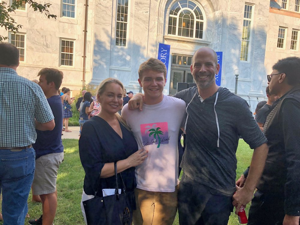 "My proud pals Collette and Adam making ""the drop"" with their son Cole at Emory."