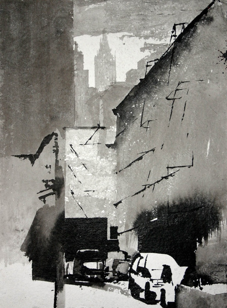 I lived in New York City from 1998 to 2003. During this time period, I created thousands of ink wash paintings. I used mostly fan brushes, Japanese Sumi ink, water and torn edged paper. Manhattan, with its light and grit was my studio and subject matter.