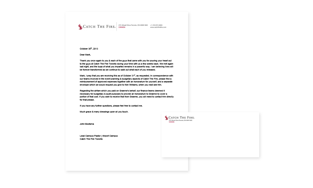 Official letterhead and envelope