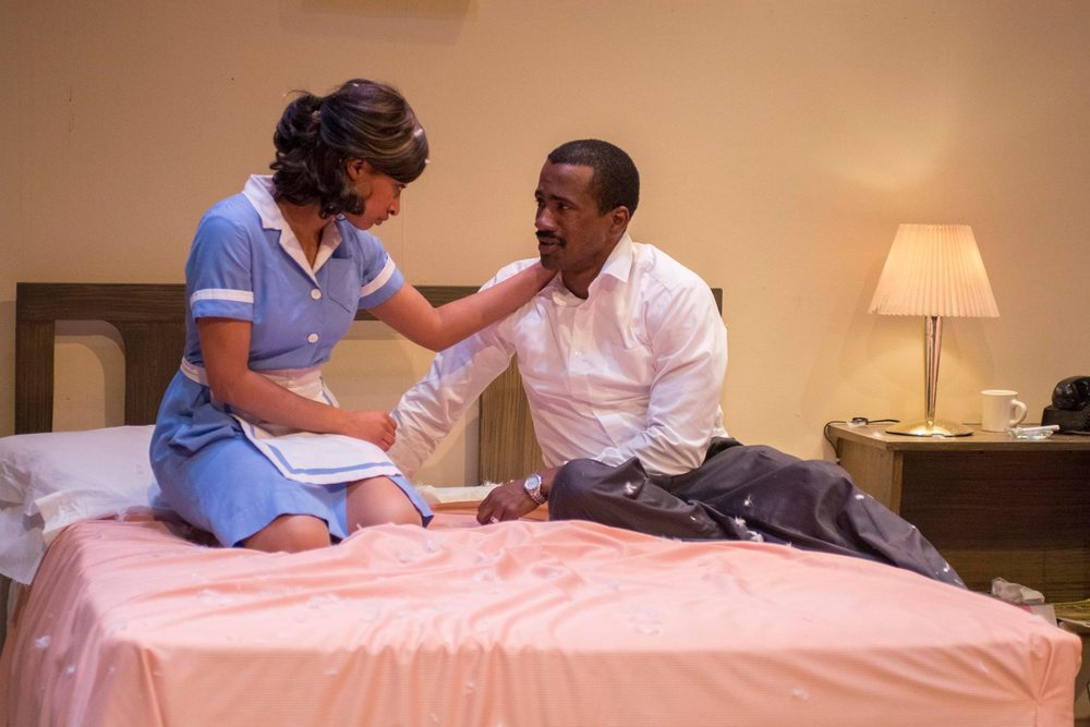 Liz Morgan as Camae and Michael Flood as King in The Mountaintop at Perseverance Theatre