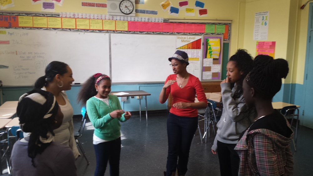 Liz Morgan as a Lead Teaching Artist with The Other Side NYC at Citizen Schools