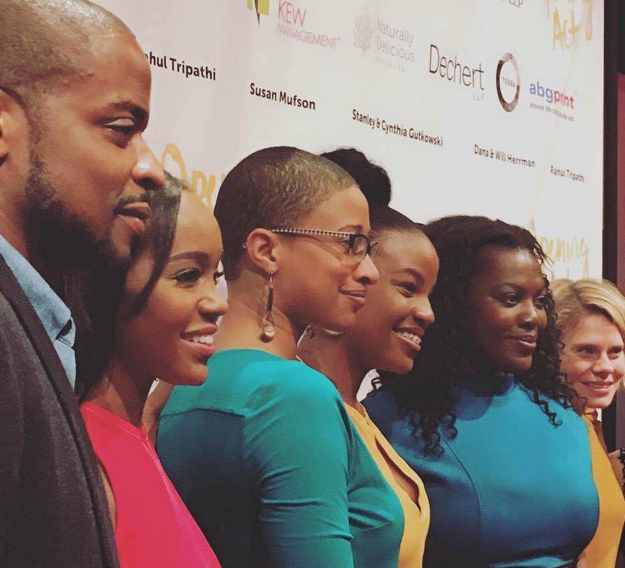 Liz Morgan with Dule Hill, Aja Naomi King and others after a benefit performance for Opening Act