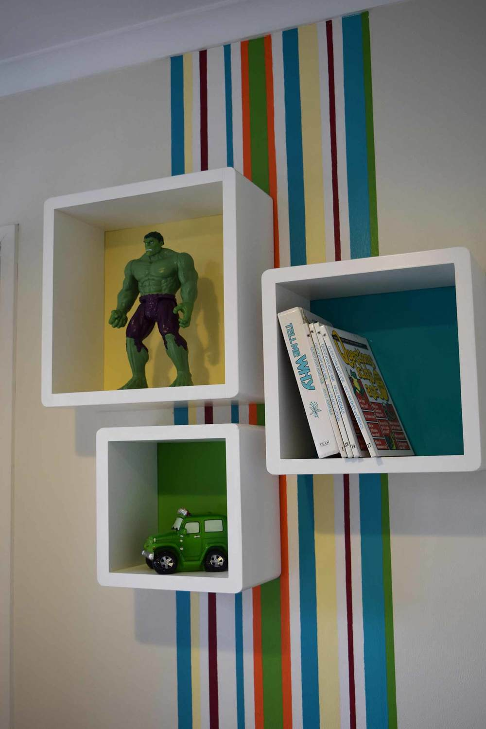 Cube Shelves With Bright Funky Colours For Boys Room Interior
