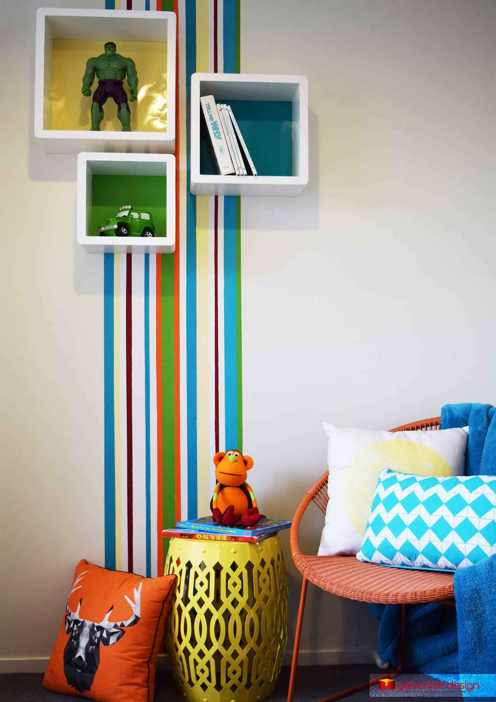 Painted Feature Stripes And Cube Shelves For This Fun Reading Nook For Boys Interior