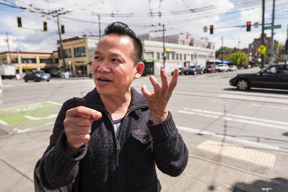 Tam Nguyen, owner of Tamarind Tree restaurant, worries that development in the ID could harm its culture. (Dean Rutz/The Seattle Times)