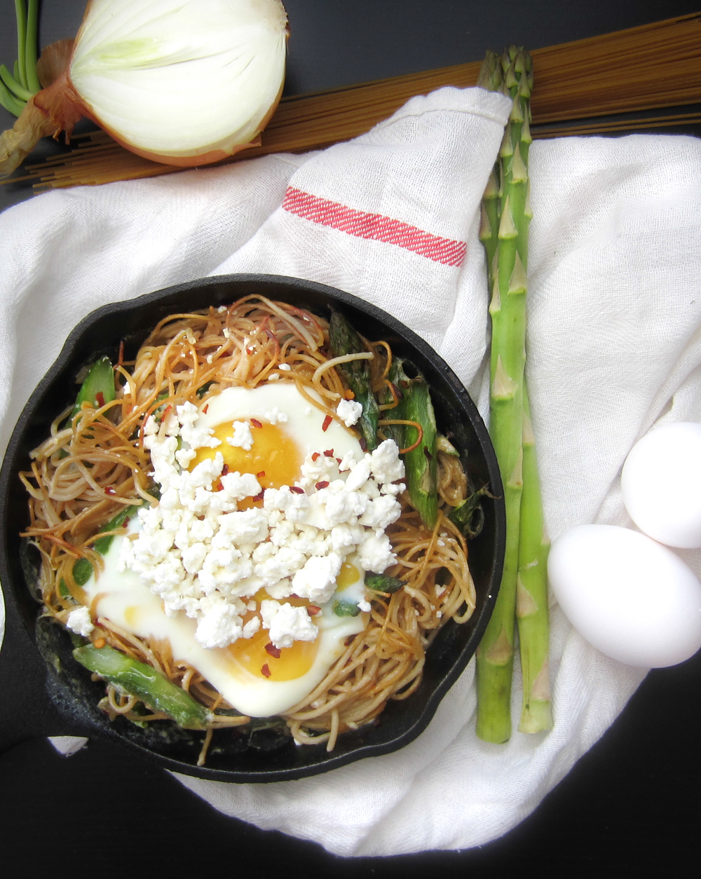 Asparagus Spaghetti with Baked Eggs | Bacon Egg and Cheese{cake}