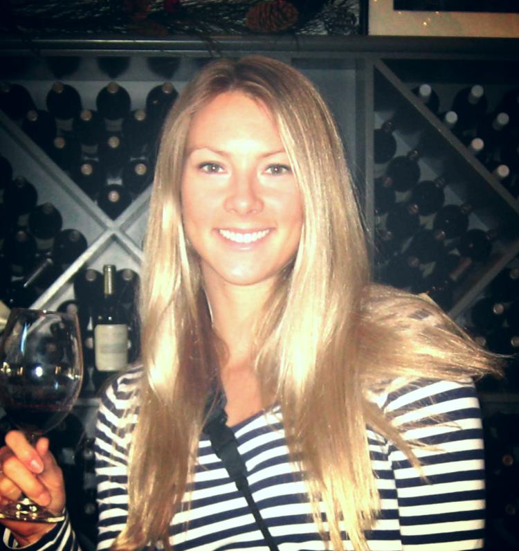 Katie enjoying wine in 2009.