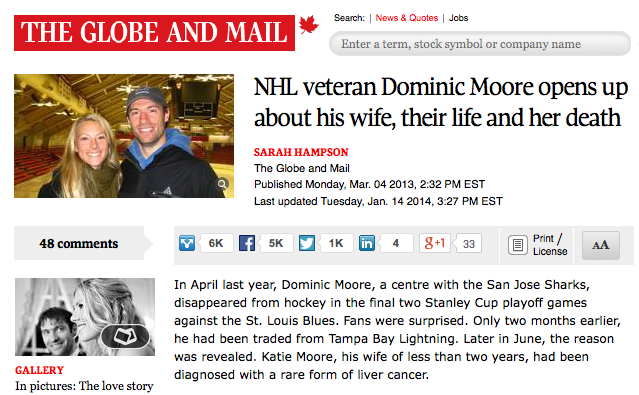 ARTICLE  Read The Globe and Mail article about Katie & Dom's story.