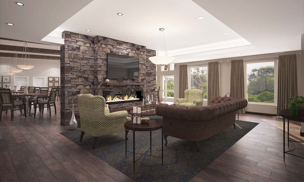 The Peaks at Old Laramie Trail Side Living Room Render