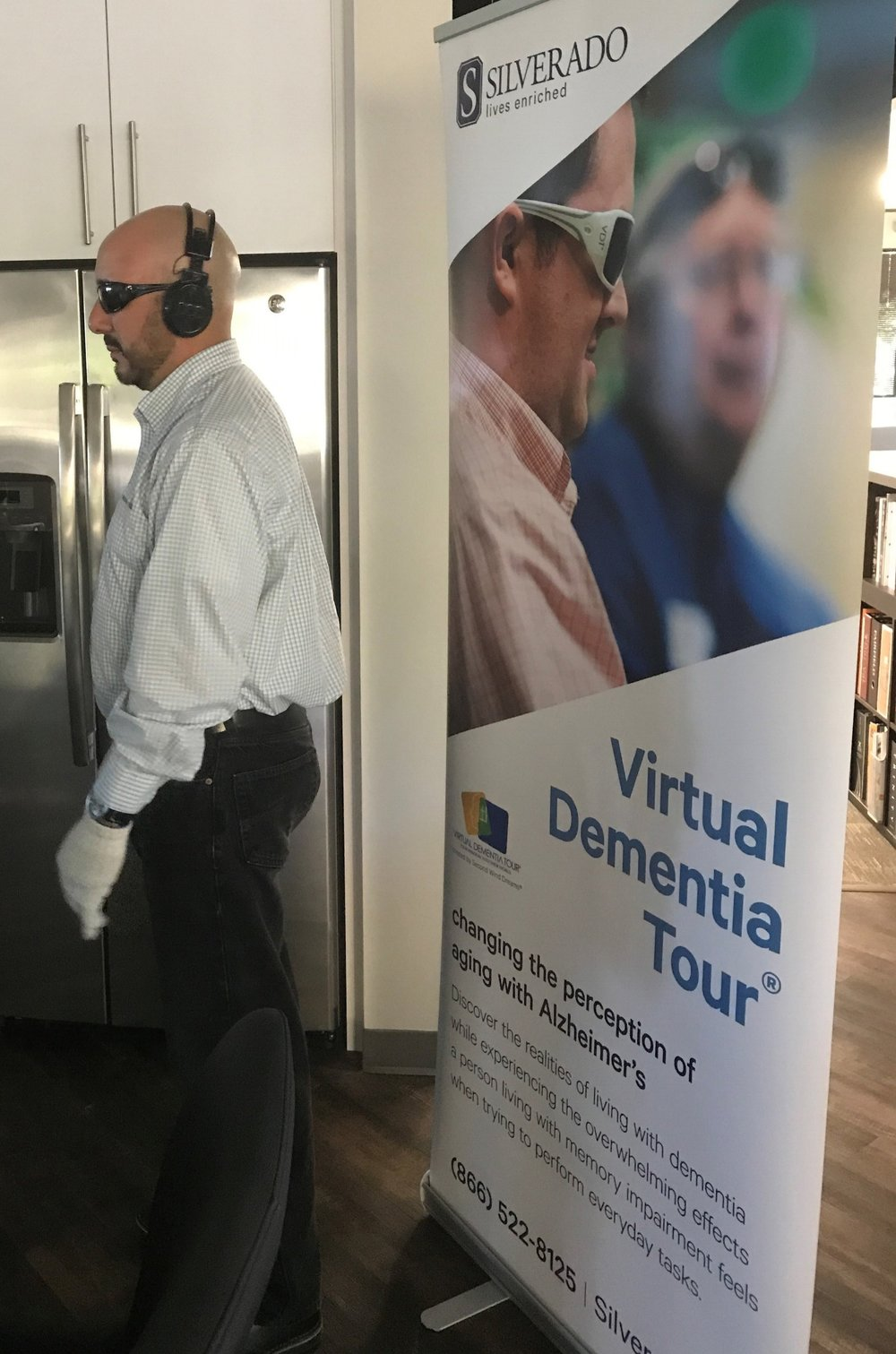Steve excited to be going through the virtual dementia tour