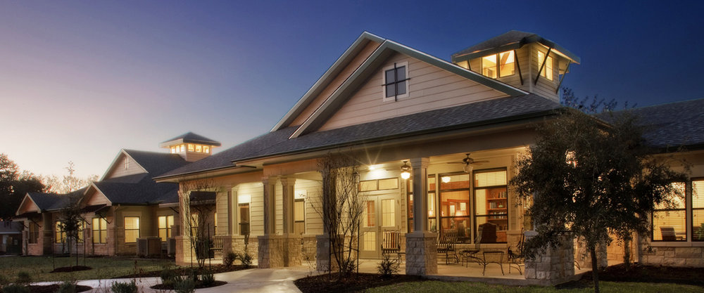 Pi Architects SPJST Texas Hill Country Style SNF Front Porch Nighttime Pi Architects Services.jpg