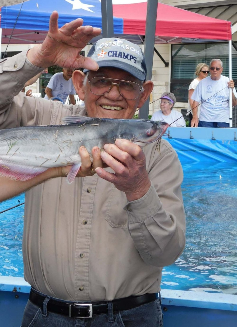 Residents at SPJST enjoy fishing each year at their annual fishing tournament. Residents reminisce on times of going to the lake to fish, while telling tall tales. Pi Architects believes in the importance of this event as it allows residents to preserve the special memories of years past and create new memories of catching the biggest fish of the day.