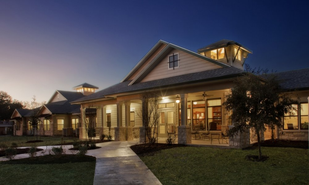 Pi Architects SPJST Texas Hill Country Style SNF Front Porch Nighttime.jpg