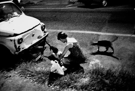Woman feeding cats, Rome, 1999