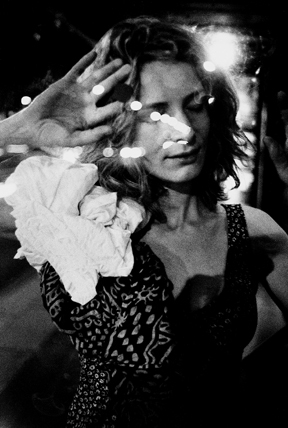 Woman pressed against glass, Paris, 2003