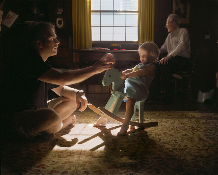 Marshall with Christopher and Grandpa (rocking horse), 2010