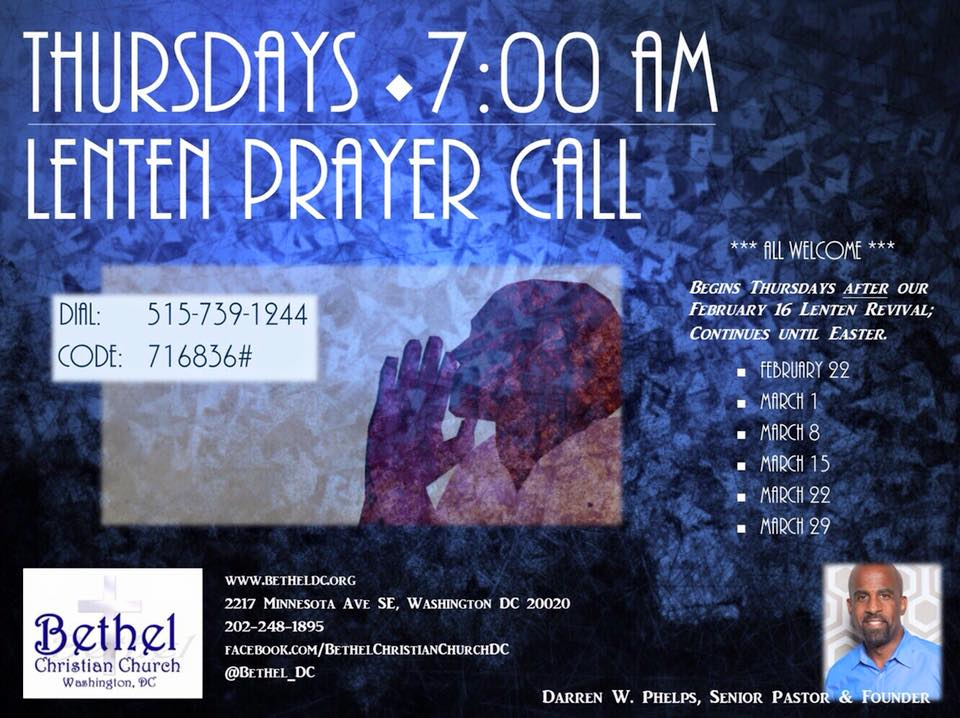 Thursday morning prayer calls during Lent, February 22 - March 29, 2018.  7am.