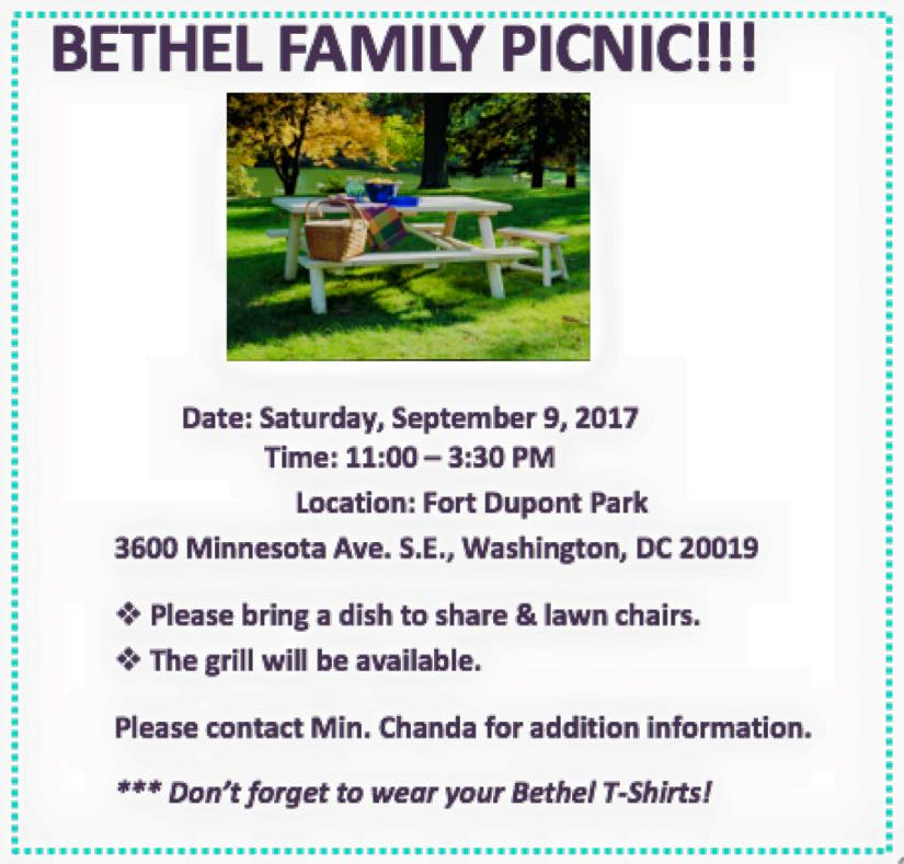 Saturday September 9, 2017 - Bethel Family Picnic.  Fort Dupont Park.