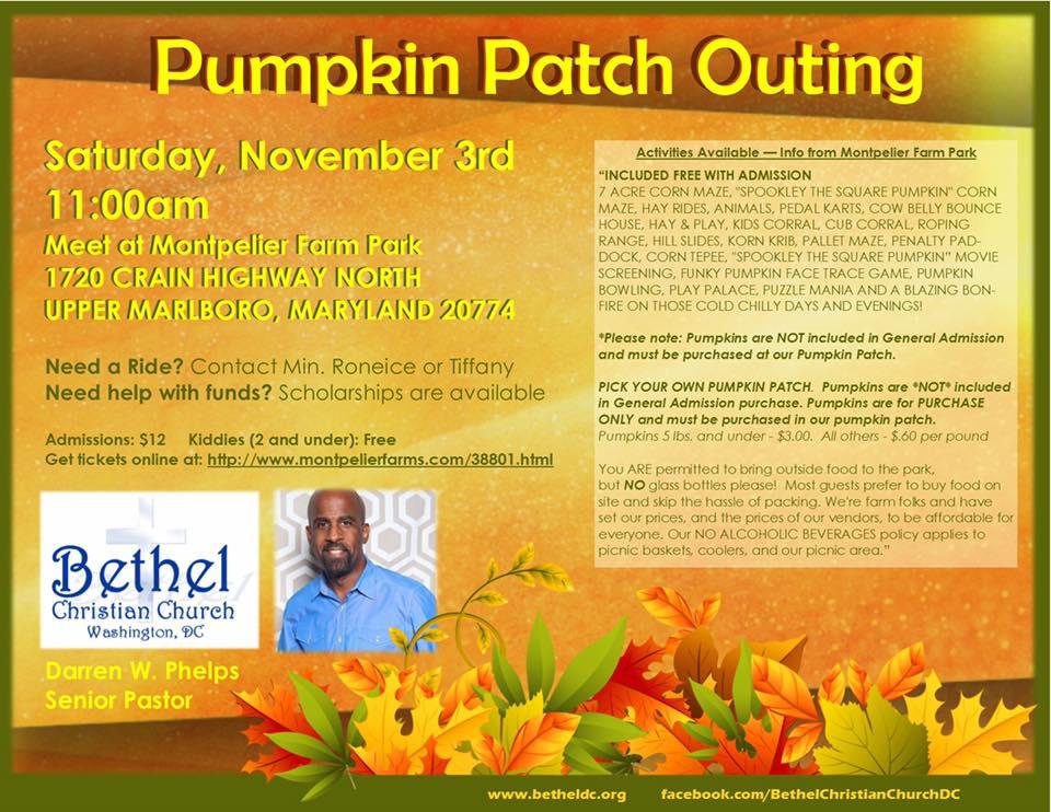 Saturday November 3 - Bethel Family Outing - Pumpkin Patch!