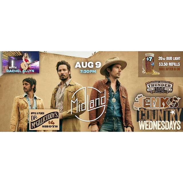 "One week from today, I'll have the privilege to open for one of the coolest new bands in country music, @midlandofficial. ""Drinkin' Problem"" is a breath of fresh air on country radio right now. We'll be playing at @jenksclub on the boardwalk in Point Pleasant next Wednesday, 8/9. If you would like to come to the show, PM me for FREE tickets!"