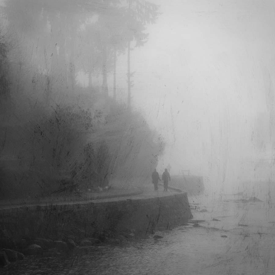 misty seawall